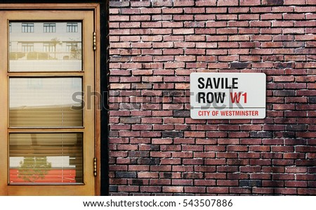 Savile Row street sign. The world's most famous street of Savile Row in London.