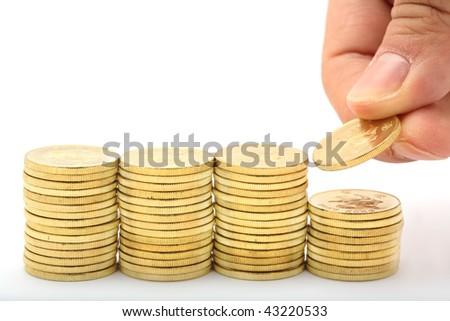 Saving a stacks of money - stock photo