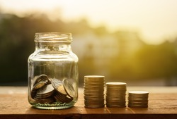 Saving account and money finance banking for prepare concept, Row of coin stack growing business, Save money retirement concept, Savings money for future