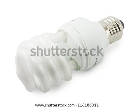 saving bulbs in the shape of a spiral on white background