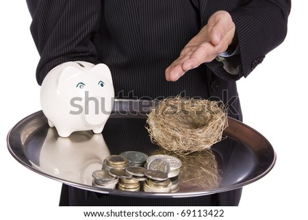 Saving Concept - Business man showing differente ways to saving money