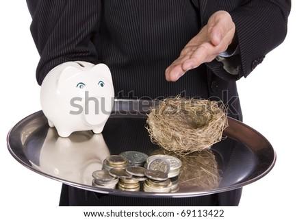 Saving Concept - Business man showing differente ways to saving money - stock photo