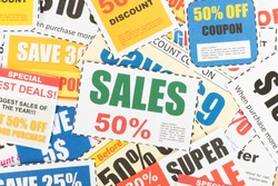 Saving discount coupon voucher, coupons are mock-up