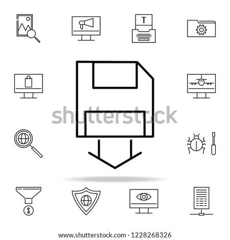 saving diskette data icon. seo and online marketing icons universal set for web and mobile