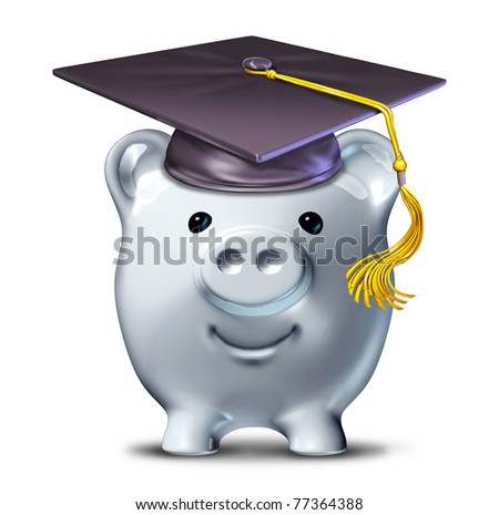 Saving for an education represented by a graduation school mortar board and a savings piggy bank.
