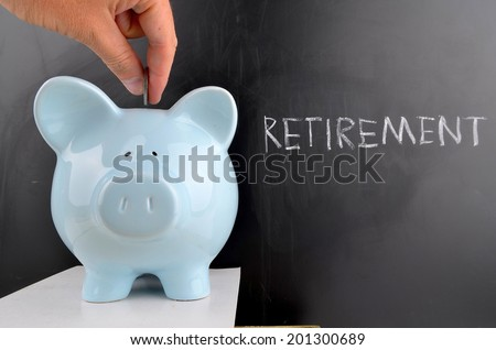 Saving for Retirement in a Blue Piggy bank