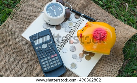 saving for retirement, saving plan, saving for investment, saving for education, Relative of time with saving, saving for travel #490362802