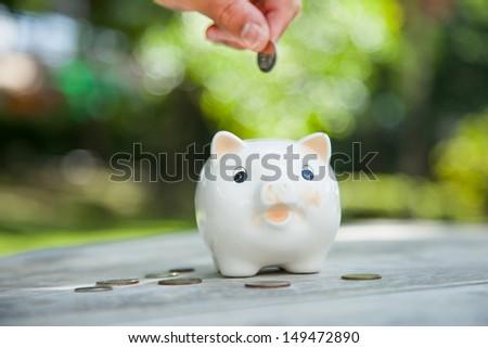 Saving money concept. Piggy bank.