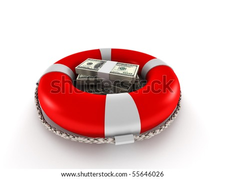 Saving money. Dollar bills in lifebuoy isolated on white background. High quality 3d render.