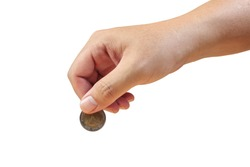 Saving money, hand putting coin on white background