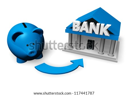 Savings and investment concept with a blue piggybank or money-box making for a bank account.