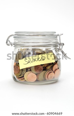 Savings - Euro coins in a glass jar on white background