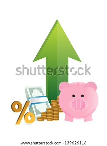 savings going up illustration design over a white background
