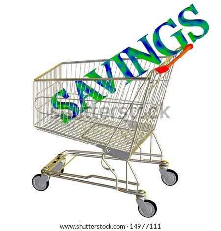 Savings in a shopping cart isolated on white
