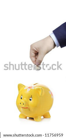 Savings - Person putting a coin in a piggy bank - stock photo