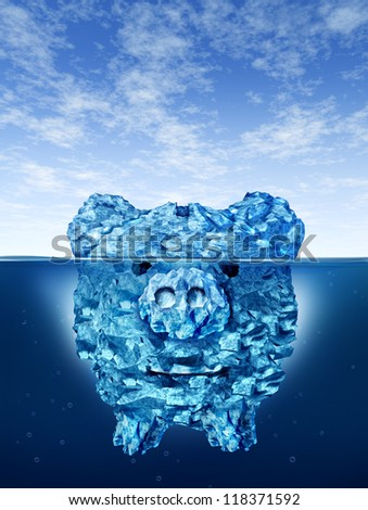 Savings risk and investing money dangers and hazards with an iceberg in the shape of a piggy bank hidden in deceptive hazardous ice in cold arctic water with a small part of a mountain above the sea.