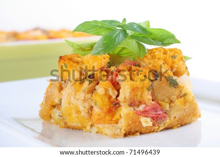 savory heirloom tomato bread pudding