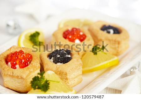Savoury holiday appetizers on plate