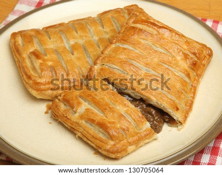 Savoury steak pastry slices.