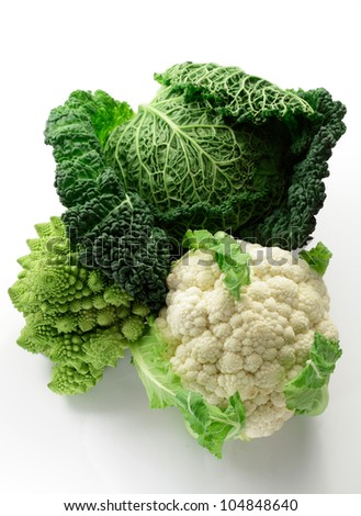 Savoy cabbage, Cauliflower and Romanesco cabbage variety, isolated on white background