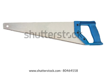 Saw a blue handle - stock photo