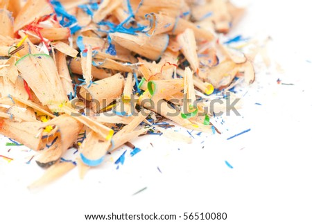 sawdust from pencils isolated on a white background. studio. picture.