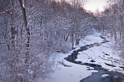 Sawmill Creek winds it's icy way through Waterfall Glen Forest Preserve at sunrise on a frigid February morning.