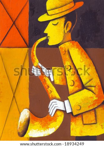 Saxaphone player. Illustration by Eugene Ivanov.