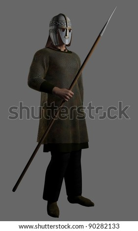 Saxon Warrior http://www.shutterstock.com/pic-90282133/stock-photo-saxon-warrior-chieftain-with-decorated-helmet-holding-a-spear-d-digitally-rendered-illustration.html
