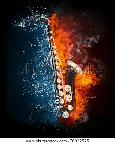 Saxophone in fire and water. Illustration of the saxophone enveloped in elements isolated on black background. High resolution saxophone in fire and water image for a jazz concert poster.