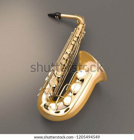 Saxophone isolated on grey background.  3D rendering