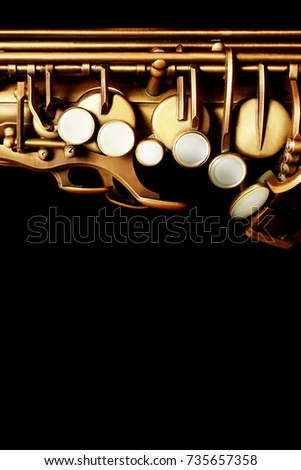 Saxophone music jazz instrument sax. Music instruments isolated on black background