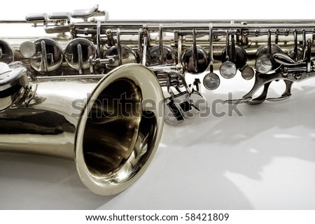 saxophone.musical instrument on white background