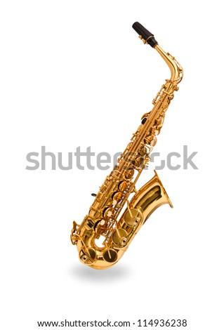 Saxophone on a white background - stock photo