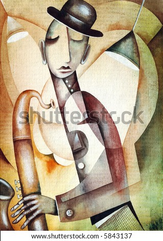 Saxophone player. Illustration by Eugene Ivanov.