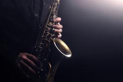 Saxophone player Saxophonist playing jazz music instrument Jazz musician playing sax alto