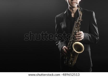 Saxophone Player Saxophonist with Sax alto Jazz Music instrument
