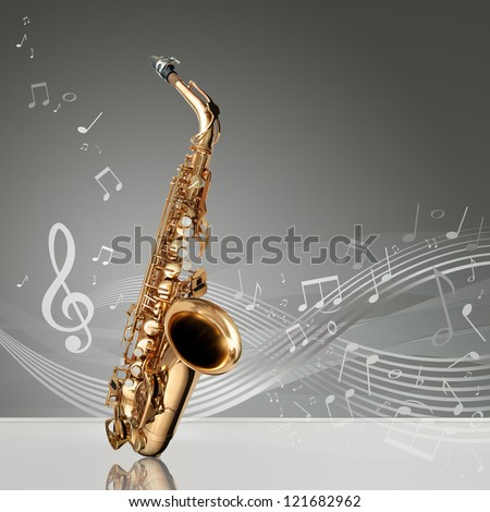 Saxophone with musical notes in an empty room, copy space ready