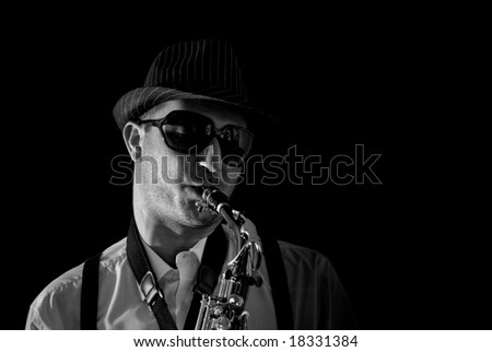 Saxophonist Series: Close-up of the musician with cool sunglasses