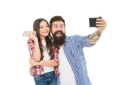 Say hello to family. Capture happy moments. Family selfie. Smartphone selfie. Dad and daughter having fun. Father and daughter video call. Family posing photo. Social networks and online community.