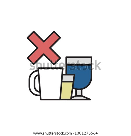 Say No to Alcohol and Caffeine. Alcohol, Caffeine free. Colorful flat illustration. Isolated on white background. Raster version.