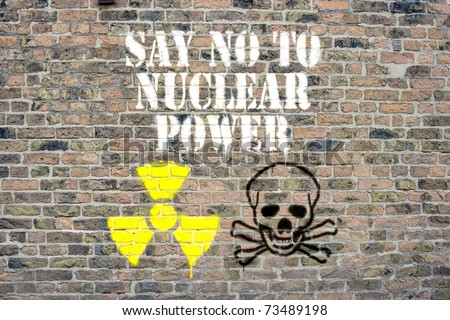 Say no to nuclear power sprayed on wall