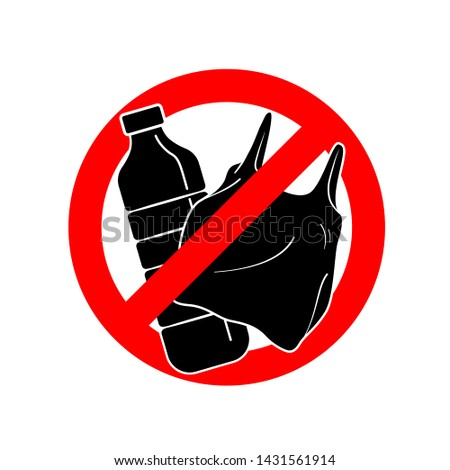 Say no to Plastic sign with Plastic bottle and plastic bag in red stop circle. vector illustration isolated on white background.
