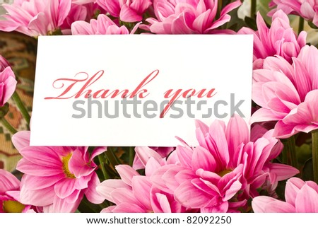 "say ""thank you"" on a background of beautiful flowers"