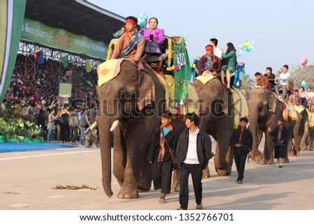 Sayaboury, Laos - February 17, 2018: Elephant Festival takes place in February every year in Sayaboury. This is to promote the conservation of elephants and promotion of Lao tradition and culture. #1352766701