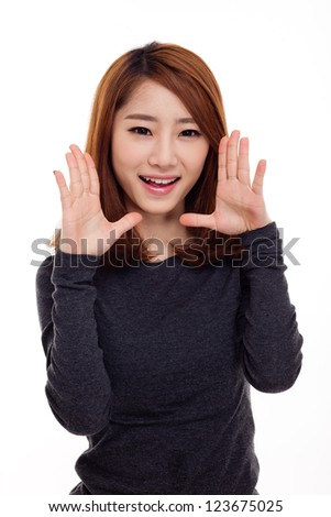 Saying young asian woman isolated on white background. - stock photo