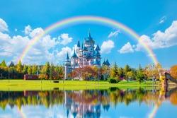 Sazova Park with rainbow- Eskisehir, Turkey