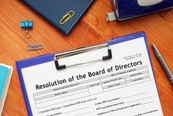SBA form 1528 Resolution of the Board of Directors