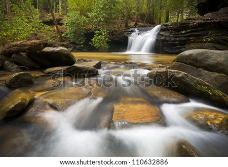 SC Waterfall Landscape Photography Blue Ridge Mountains Relaxing Nature image with peaceful flowing water