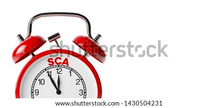 SCA - Strong Customer Authentication - Concept with Alarm Clock (3d rendering)
